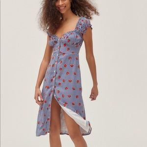 Urban Outfitters Penelope Strawberry Button Dress